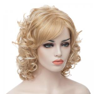 Fashion Fluffy Charming Medium Curly Light Blonde Synthetic Capless Wig For Women -
