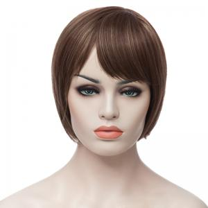 Fashion Side Bang Charming Short Straight Bob Mixed Color Synthetic Capless Wig For Women