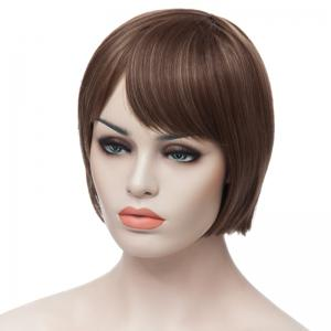 Fashion Side Bang Charming Short Straight Bob Mixed Color Synthetic Capless Wig For Women - COLORMIX