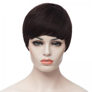 Super Short Curly Heat-Resistant Capless Full Bang Fashion Sexy Women's Synthetic Black Wig -