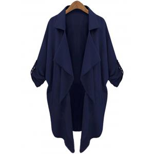 Lapel Neck Long Sleeve Solid Color Trench Coat - Cadetblue - L