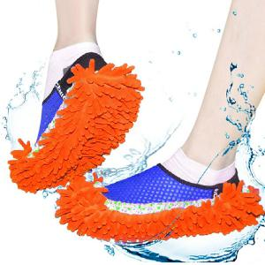 Practical Chenille Mop Slippers Dust Floor Cleaning Mopping Foot Shoes Home Pair Cleaner - Orange - 38