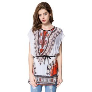 Trendy Full Print Batwing Sleeve Women's T-Shirt - White - L