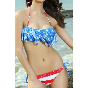 Sexy Style Halter Neck Tassel Color Block American Flag Bikini Set For Women