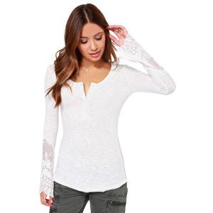 Lace Insert Long Sleeve Henley Tee Shirt