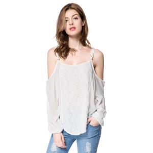 Long Sleeve Cold Shoulder Lace Chiffon Top