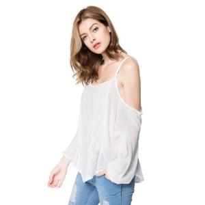Long Sleeve Cold Shoulder Lace Chiffon Top -