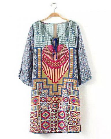 Trendy Retro Style Scoop Neck Print 1/2 Sleeve Dress For Women