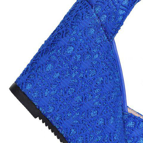 Cheap Sweet Lace and Metallic Design Women's Wedge Heel Sandals - 39 BLUE Mobile