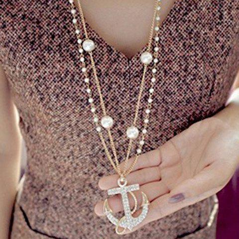 Rhinestone Embellished Anchor Double Layered Sweater Chain - White And Golden - M
