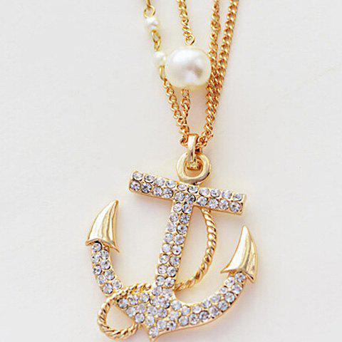Store Rhinestone Embellished Anchor Double Layered Sweater Chain - WHITE AND GOLDEN  Mobile