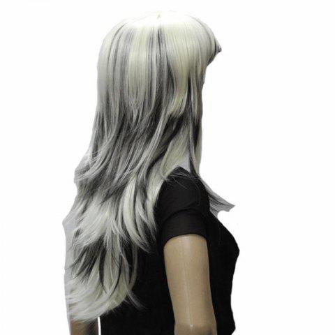Fancy Harajuku Long Straight Side Bang Stylish Synthetic White Mixed Black Capless Wig For Women - COLORMIX  Mobile