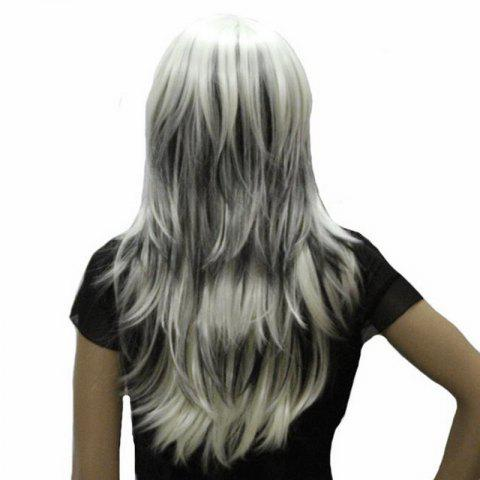Trendy Harajuku Long Straight Side Bang Stylish Synthetic White Mixed Black Capless Wig For Women - COLORMIX  Mobile