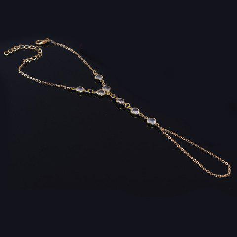 Best Gold Plated Faux Crystal Link Bracelet With Ring - GOLDEN  Mobile