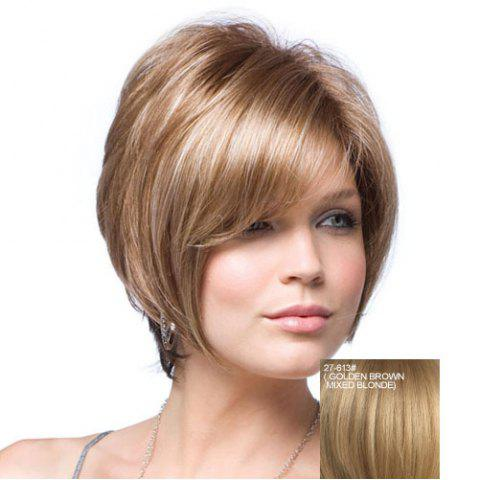 Fancy Trendy Fluffy Side Bang Elegant Short Straight Human Hair Capless Wig For Women