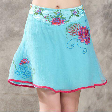 Chic Ethnic Style Zipper Fly Embroidery A-Line Skirt For Women