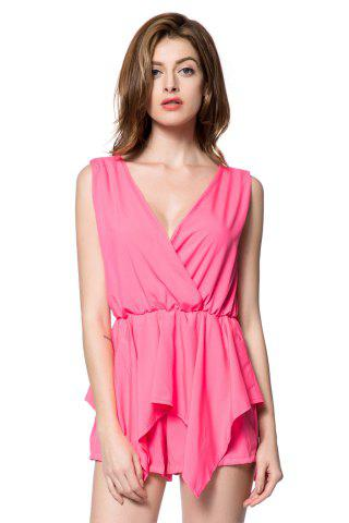Outfit Stylish V-Neck Sleeveless Solid Color Chiffon Women's Romper PINK S