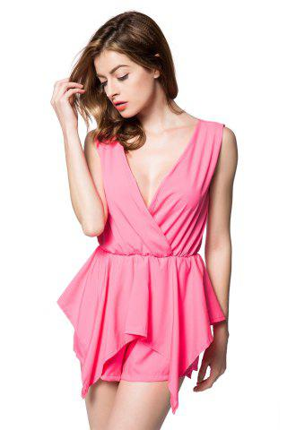 Outfits Stylish V-Neck Sleeveless Solid Color Chiffon Women's Romper - L PINK Mobile