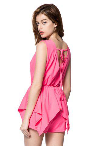 Fancy Stylish V-Neck Sleeveless Solid Color Chiffon Women's Romper - L PINK Mobile