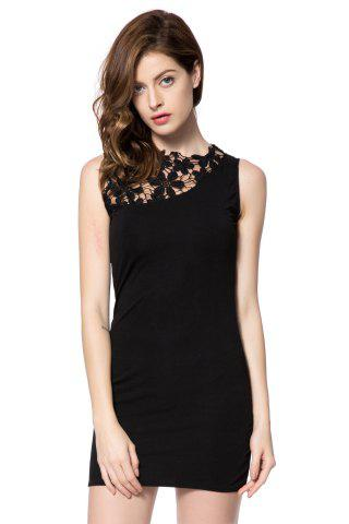 Outfits Elegant Round Neck Lace Splicing Sleeveless Black Dress For Women