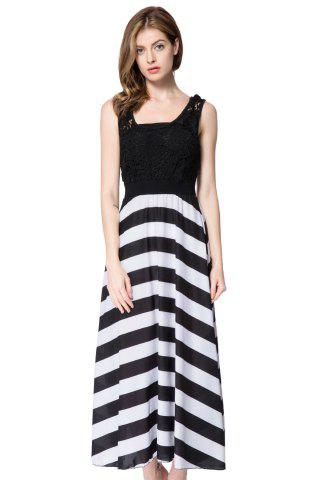 Striped Sleeveless Scoop Neck Floor-Length Women's Dress - WHITE/BLACK XL