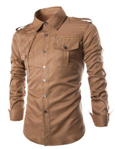 Fashion Fashion Uniform Style Shirt Collar Fitted Epaulet and Zipper Design Long Sleeve Polyester Shirt For Men