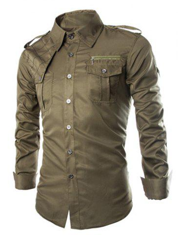 Chic Fashion Uniform Style Shirt Collar Fitted Epaulet and Zipper Design Long Sleeve Polyester Shirt For Men ARMY GREEN 2XL