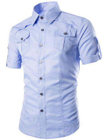Shops Fashion Shirt Collar Fitted Multi-Pocket Curling Edge Short Sleeve Polyester Shirt For Men - M AZURE Mobile