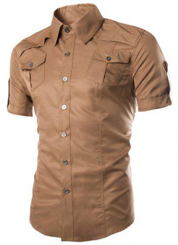 Outfit Fashion Shirt Collar Fitted Multi-Pocket Curling Edge Short Sleeve Polyester Shirt For Men - DARK KHAKI 2XL Mobile
