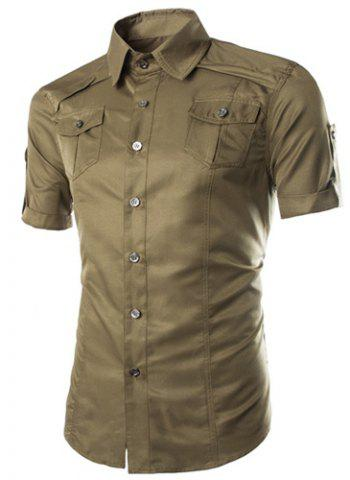 Fashion Shirt Collar Fitted Multi-Pocket Curling Edge Short Sleeve Polyester Shirt For Men - ARMY GREEN L