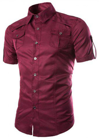 Outfits Fashion Shirt Collar Fitted Multi-Pocket Curling Edge Short Sleeve Polyester Shirt For Men - WINE RED XL Mobile