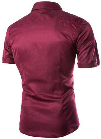 New Fashion Shirt Collar Fitted Multi-Pocket Curling Edge Short Sleeve Polyester Shirt For Men - WINE RED XL Mobile