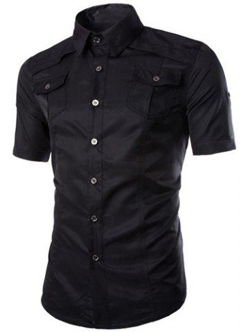 New Fashion Shirt Collar Fitted Multi-Pocket Curling Edge Short Sleeve Polyester Shirt For Men - BLACK XL Mobile