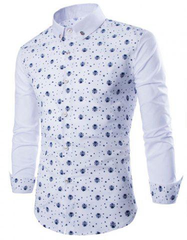 Store Fashion Shirt Collar Fitted Tiny Skull and Five-Point Star Print Long Sleeve Polyester Shirt For Men