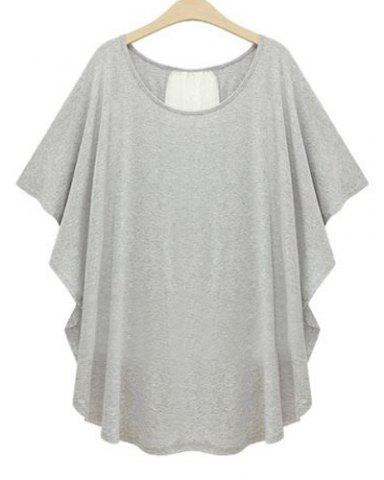 Buy Stylish Scoop Neck Lace Splicing Dolman Sleeve Plus Size T-Shirt For Women