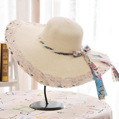 Outfits Chic Kink Lace-Up Embellished Color Block Wide Brim Straw Hat For Women