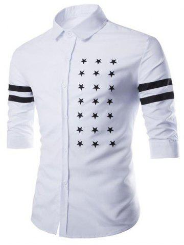 Latest Fashion Shirt Collar Slimming Five-Point Star Stripe Print Half Sleeve Cotton Blend Shirt For Men WHITE M