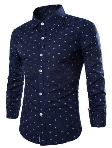 Hot Western Style Turn-down Collar Anchor Print Slimming Long Sleeves Men's Cotton Blend Shirt