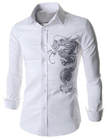 Online Stylish Fitted Turn-down Collar Beads Embellished Long Sleeves Men's Cotton Blend Shirt