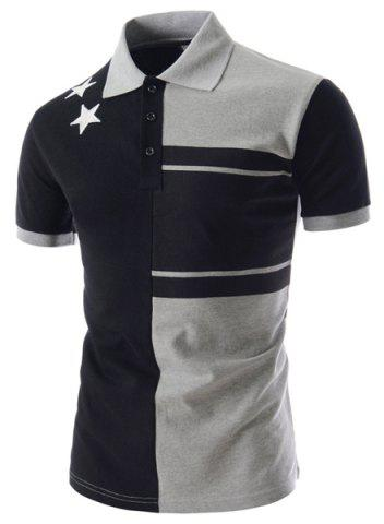 Chic Personality Color Splicing Turn-down Collar Fitted Short Sleeves Men's Polyester Polo T-Shirt
