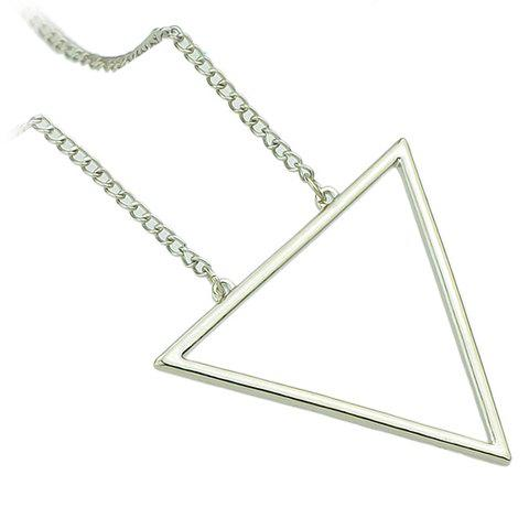 Hot Chic Hollow Triangle Sweater Chain Necklace For Women - SILVER  Mobile
