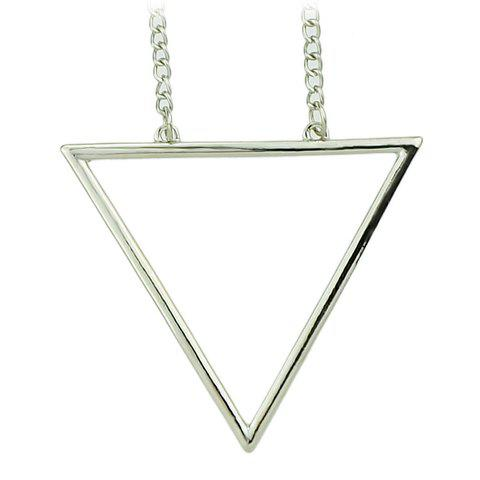 Store Chic Hollow Triangle Sweater Chain Necklace For Women SILVER
