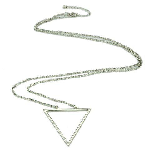 Buy Chic Hollow Triangle Sweater Chain Necklace For Women - SILVER  Mobile