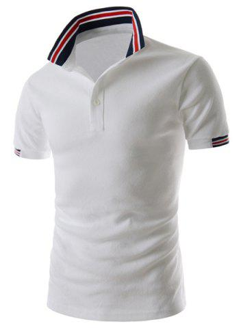 Outfit Refreshing Turn-down Collar Stripes Splicing Fitted Short Sleeves Men's Polyester Polo T-Shirt WHITE M