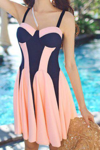 Trendy Sweet Push-Up Color Splicing One-Piece Swimsuit For Women ORANGE L
