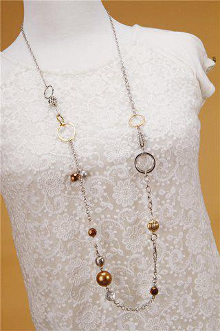 New Retro Beads Rhinestone Sweater Chain Necklace For Women