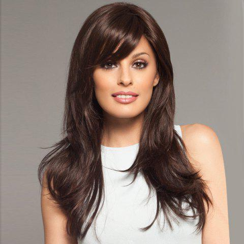 Latest Pretty Charming Long Hairstyle Layered Fluffy Straight Affordable Women's Capless Real Human Hair Wig