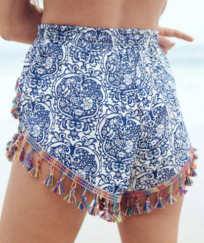 Discount Ethnic Style Full Print Tassel Spliced Dolphin Flowy Shorts - L COLORMIX Mobile