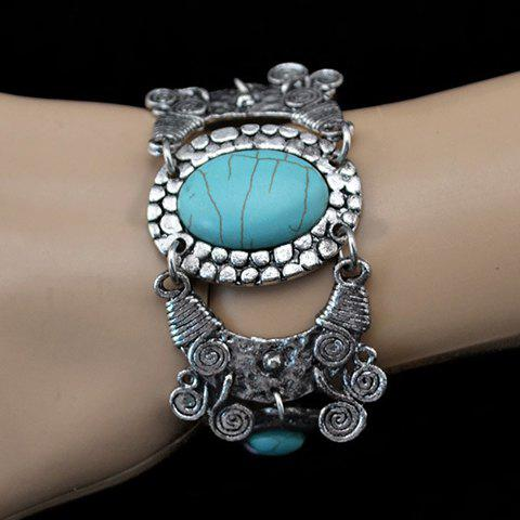 Bohemian Retro Style Turquoise Decorated Oval Floral Shape Bracelet - SILVER