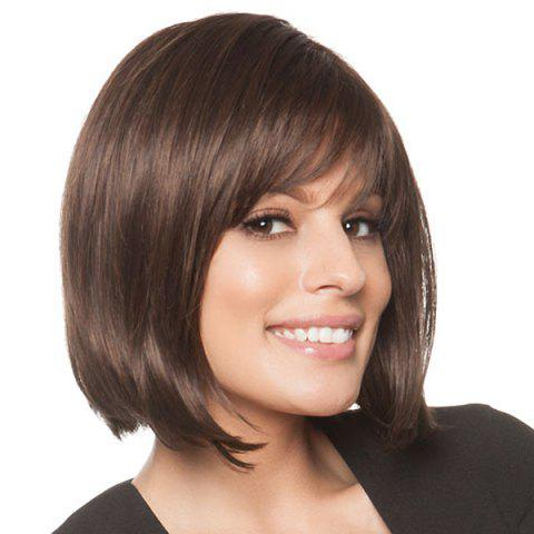 Shop Trendy Side Bang Charming Noble Short Natural Straight Human Hair Women's Capless Wig